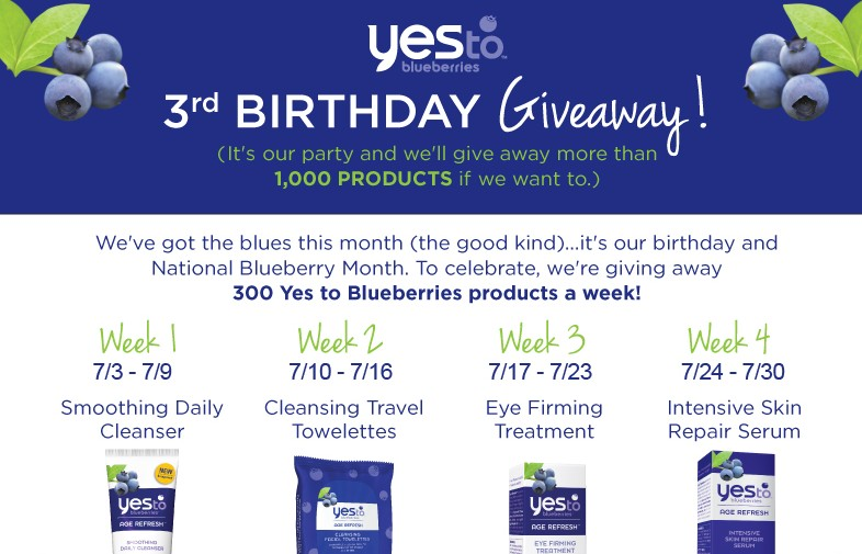 Yes To Blueberries 3rd Birthday Giveaway/Sweepstakes