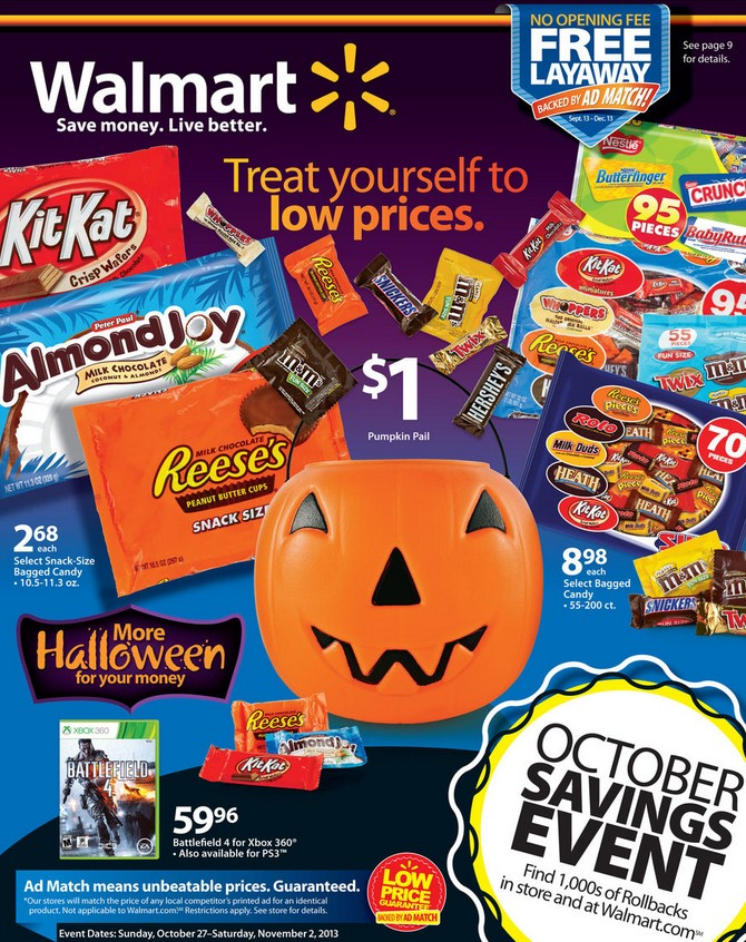 Not only do they have under-the-radar deals on adorable Halloween decorations you didn't know you needed, but your local Target may also have some cheap candy in there, too. Walmart The treats.