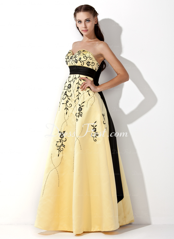 Empire Sweetheart Floor-Length Satin Prom Dress With Embroidered Sash Beading  Price: US$ 190.99