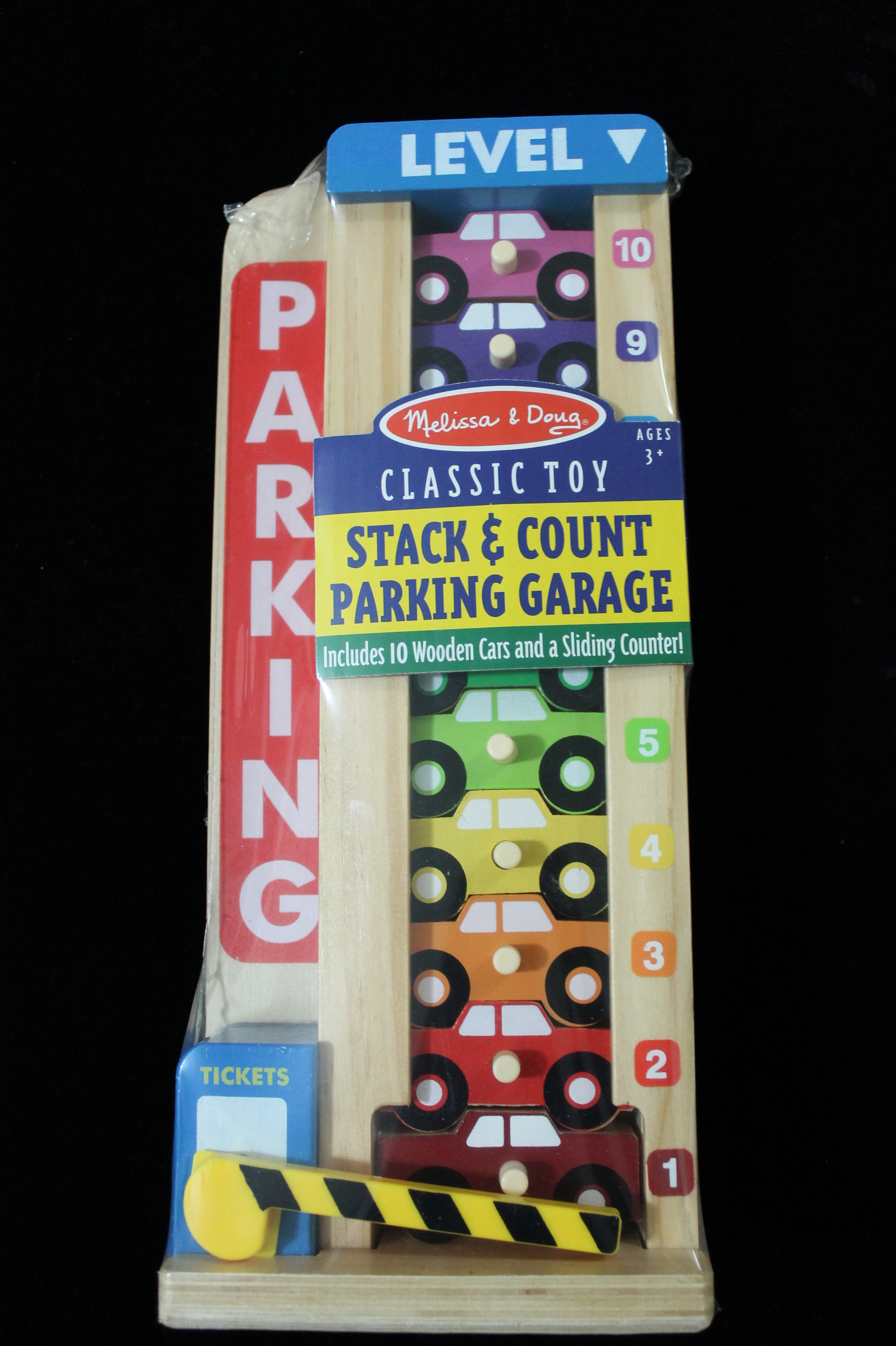 Melissa & Doug /Wooden-Stack-and-Count-Parking-Garage-Toy