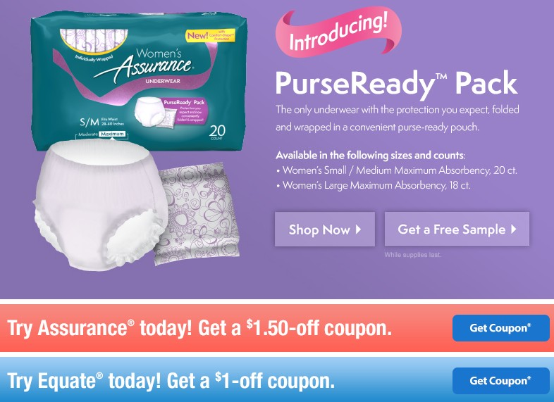 FREE Equate® and Assurance® PurseReady Sample Packs